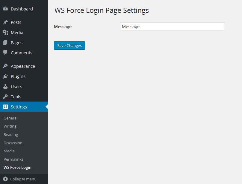 WS Force Login Page administreerimise leht