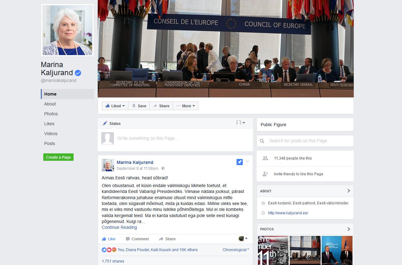 Presidendivalimised 2016 Marina Kaljurand